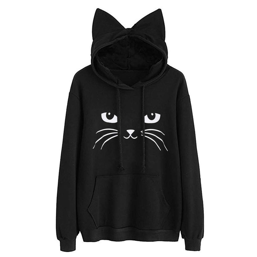 Misaky Pullover Sweatshirt Casual Cute Cat Print Long Sleeve Drawstring Cat Ear Hooded Blouse Girls Hoodie