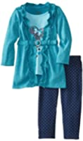 Nannette Little Girls' Two-Piece Heart Screen Print Top with Polka Dot Pant Set