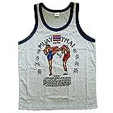 VillaMarket Men's Tank Top Singlet Vest Gym Muay Thai Men T-shirt Cotton 100% Made in Thailand (Grey, XL)