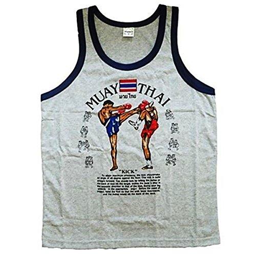 VillaMarket Men's Tank Top Singlet Vest Gym Muay Thai Men T-Shirt Cotton 100% Made in Thailand