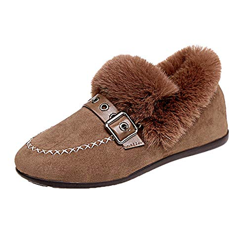 JESPER Women Winter Spring Flat Furry Cozy Shoes Warm Suede Slip-On Round Toe Moccasins Khaki