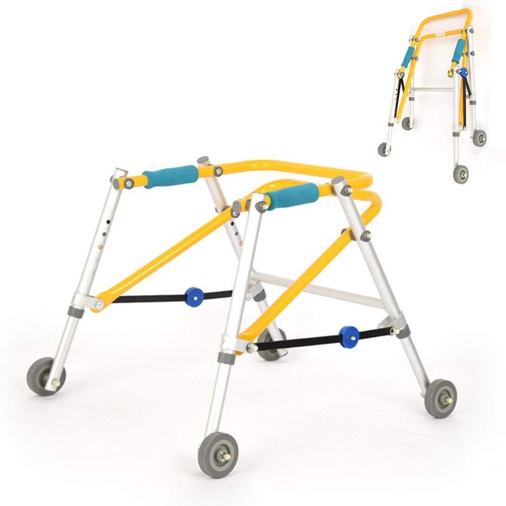 JLVNA Folding Walker Child Walker Stand - Four Wheels Walker Lower Limb Rehabilitation Mobility Help - Cerebral Palsy Children's Walker (Size : 42-52cm) by JLVNA