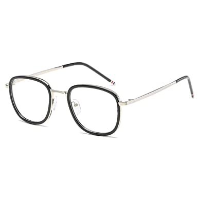 3b603f561e VEVESMUNDO Eyewear Retro Round Metal Frame Eyeglasses Horn Rimmed Large  Lens Nerd Fake Clear Vintage Glasses for Women Men with Hard Case (Black ...