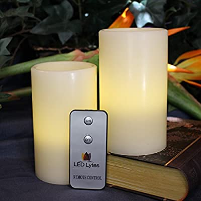 "LED Lytes Real Wax Battery Operated Flameless Pillar Candles with Remote-Set of 2-(3"" X 5"")"