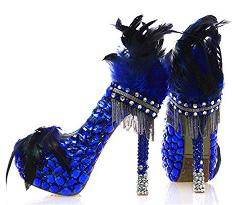 Mnii Donne 3d Fiori Blu Piuma Strass Bling Festa Di Nozze Club Sposa Damigella Donore Tacchi Alti Scarpe Stiletto-colore Di Buona Qualità
