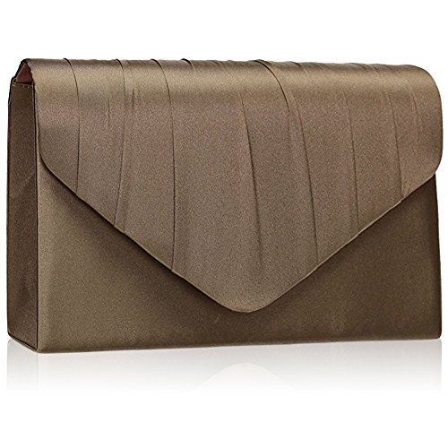 Pleated New Envelope Party UK Zarla Satin Clutch Bags Bridal Women Prom Evening Khaki Ladies qUwqfdIEy