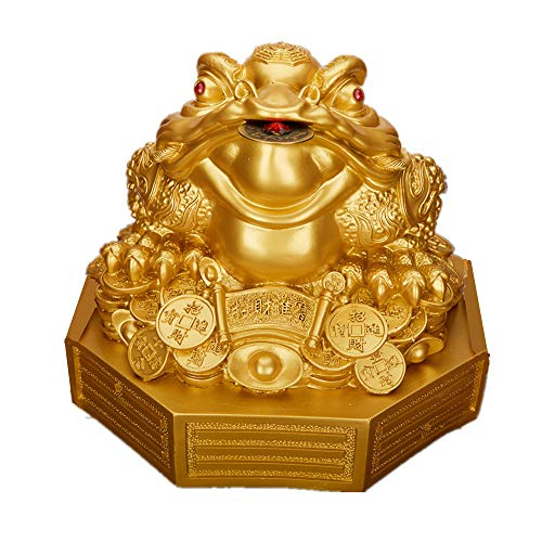 Feng Shui Resin Money Frog (Three Legged Toad/Wealth Frog) Figure on Base Decoration(Gold, L) ()