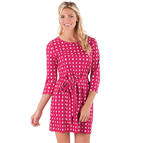 Courtney Dress Pink Ditzy Squares