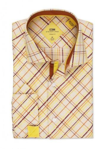Steven Land Dress shirt 100% Cotton Textured Bias Cut Plaid Shirt With - Bias Plaid Dress