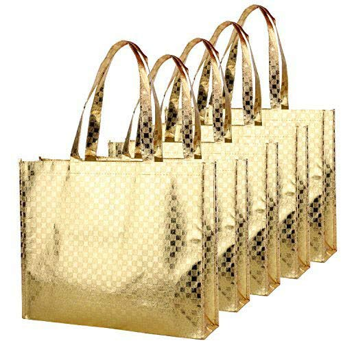 Rumcent Bling Glossy Glitter Durable Reusable Grocery Bag Tote Bag Handles Bag,Medium Non-woven Present Bag Gift Bag,Goodies Bag Shopping Bag,Promotional Bag,Set Of 5 -Gold -