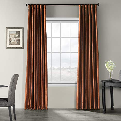 HPD Half Price Drapes PDCH-KBS36-84 Vintage Textured Faux Dupioni Silk Curtain, 50 x 84, Copper -