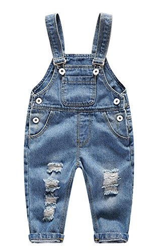 Boys Cute Blue Denim Distressed Front Bibs Jeans Overall Shotall Jumpsuit with Adjustable Strap 90 Blue (90 Tabs Eyes)