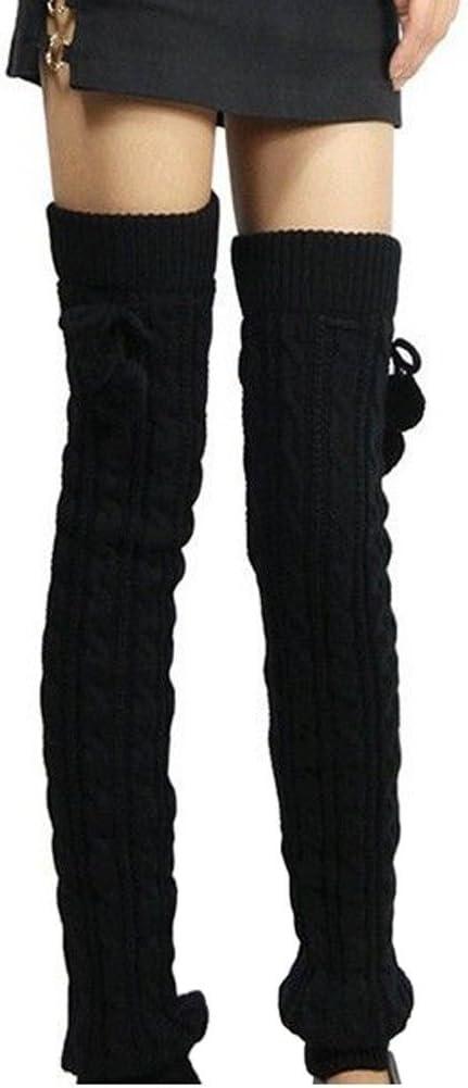 ZUMUii Butterme Womens Extra Grueso Largo De Cable Knit Crochet Knee Calentadores De Pierna Alta con El Otoño De Invierno Knit Calcetines Calcetines De Rodilla