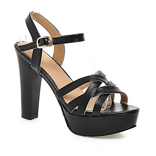 AllhqFashion Womens Patent Leather Buckle Open Toe High Heels Solid Sandals Black Ask7y8a