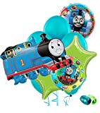 "Thomas & Friends Birthday Party Balloon Package - (1)Super-Shape Thomas Mylar (2)18"" Thomas Mylar (2)Solid Mylar (6)12"" Latex & Ribbon"