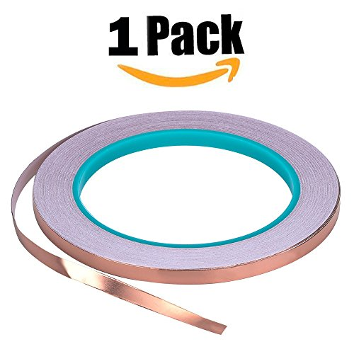 Bullet Face Copper Foil Tape with Double-sided Conductive (1/2inch X 21.8yards)- EMI Shielding,Stained Glass,Soldering,Electrical Repairs,Slug Repellent,Paper Circuits,Grounding (1/2inch)