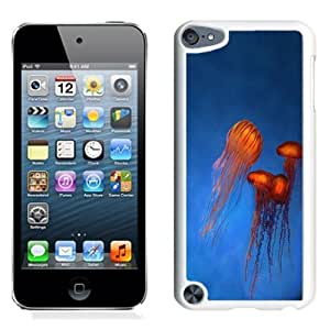 NEW Unique Custom Designed iPod Touch 5 Phone Case With Orange Jellyfish Rising Blue Ocean_White Phone Case