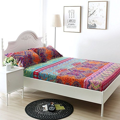 Bohemian Exotic Style Cotton Bed Fitted Sheet Queen Size (Pattern1)