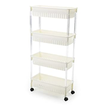 SUNLIGHTAM 4 Tier Kitchen Trolley On Wheel Vegetable Fruit Storage Rack  Basket Corner Shelf Slim Slide
