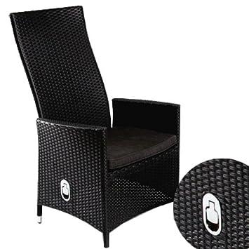 Polyrattan Sessel Rattan Hochlehner Positionsstuhl Mit Verstellbarer  Rückenlehne Inkl. Sitzkissen In Schwarz