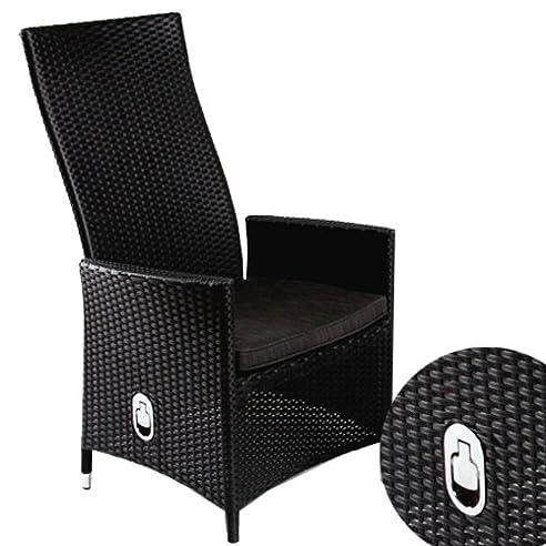 Exceptional Polyrattan Sessel Rattan Hochlehner Positionsstuhl Mit Verstellbarer  Rückenlehne Inkl. Sitzkissen In Schwarz Images