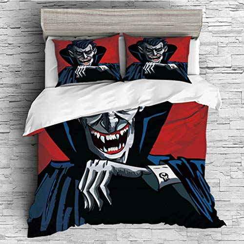 3 Pieces (1 Duvet Cover 2 Pillow Shams)/All Seasons/Home Comforter Bedding Sets Duvet Cover Sets for Adult Kids/Singe/Vampire,Cartoon Cruel Old Man with Cape Sharp Teeth Evil Creepy Smile Halloween Th ()