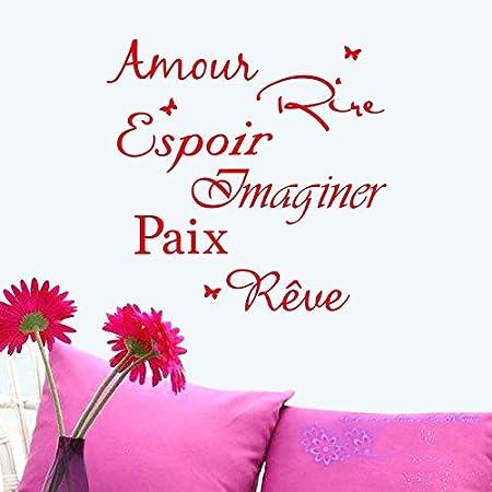 jtxqe French Amour Rire Espoir Vinilo Etiqueta de la Pared Mural ...