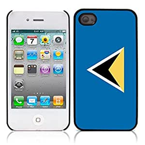 Flag of Saint Lucia Hard Plastic and Aluminum Back Case for Apple iphone 4 4S