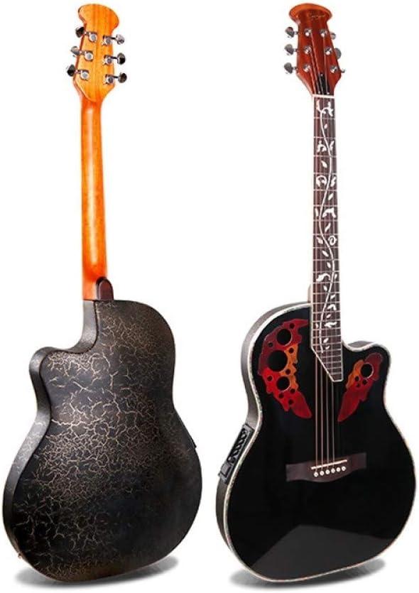 LOIKHGV Guitarras- Caja eléctrica de 41 Pulgadas, Guitarra Popular, Parte Posterior de plástico, Doble Orificio de UVA, Guitarra Spruce, Guitarra acústica con Cuerdas de Acero, Amarillo, 41 pulga