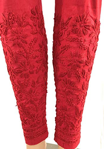 Lucknow Chikankari stretchable cotton leggings,narrow pants/Comfortable ankle length narrow pants leggings Red/Hand embroidered/One size fits most (Red) LENGTH: 37 Inches