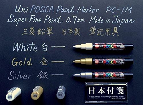 uni-posca-paint-marker-pc-1m-extra-fine-point-07mm-white-gold-silver-1-pen-each-japan-import