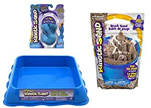 Kinetic Sand GIFT SET! Includes 6 oz. of Neon BLUE Sand & 3 lbs of Kinetic Beach Sand and Neon Blue Sand Box