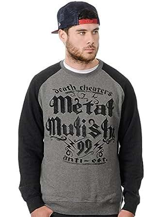 Metal Mulisha Mens Ninety Nine Raglan Crew Sweater Sweatshirt, Heather Grey/Charcoal, Medium