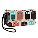 Women Zipper Wallet Owl Wallet Purse Canvas Phone Card Holder with Coin Pocket and Strap (Large, Owl)
