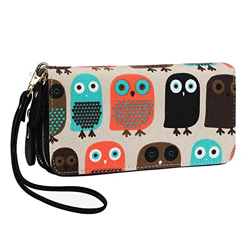 Owl Wallet Purse Canvas Phone Card Holder with Coin Pocket and Strap (Large, Owl) (Galaxy Canvas Shoulder Bag)