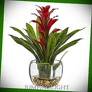 JumpingLight Bromeliad with Vase Arrangement Artificial Flowers Wedding Party Centerpieces Arrangements Bouquets Supplies 37