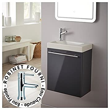 planetebain meuble lave mains complet couleur gris anthracite laqu avec mitigeur eau chaudeeau