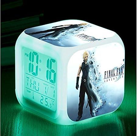 Horloge DHeure De Lit 8Cm 1 HHIAK666 Animation Final Fantasy 7 R/éveil De Changement De Couleur De Couleur Horloge De Station Multifonction De Muet De LED