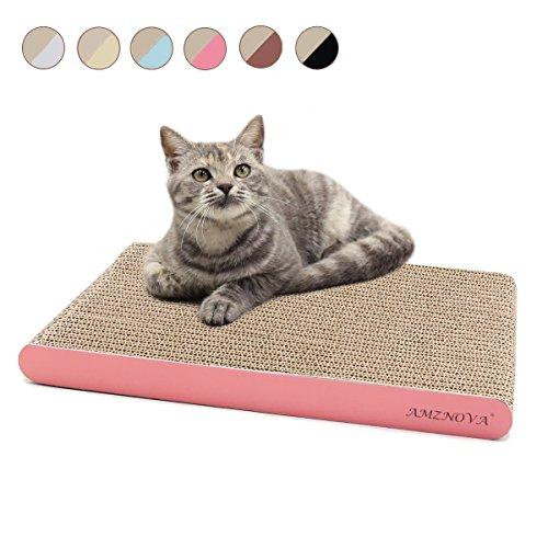 AMZNOVA Durable Cat Scratcher Lounge, Eco-Friendly Cardboard, Colors Series, Wide, Pink