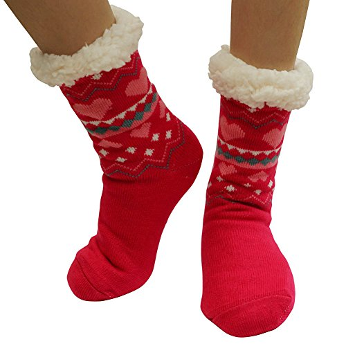 Lined Warm Soft Heart Fuzzy With Super Cozy Grippers Fleece Socks Red Slipper Womens HpXtxqgwn