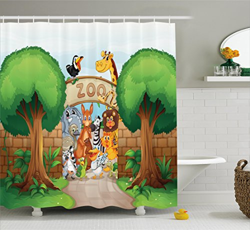 Ambesonne Children Shower Curtain by, Zoo Entrance with Giraffe Leon Elephant Pelican Zebra Monkey Tiger Welcoming Graphic, Fabric Bathroom Decor Set with Hooks, 70 Inches, Multi -