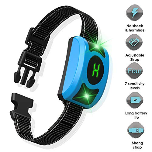 Rechargeable Anti Dog Bark Collar, Waterproof Smart Detection Train Large Medium Small Dogs Humanely with LED Breathing Light & Screen, Dog Bark Collar