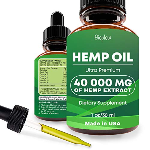 Hemp Oil Drops 40000mg, Co2 Extracted, No More Stress, Anxiety and Pain, 100% Natural Ingredients, Vegan Friendly, GMO…