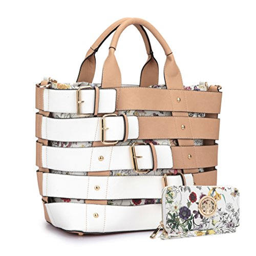 Women Leather Handbag Belt Tote Floral Drawstring Bucket Bag Purse Handbag Wallet Set(6665-BG)