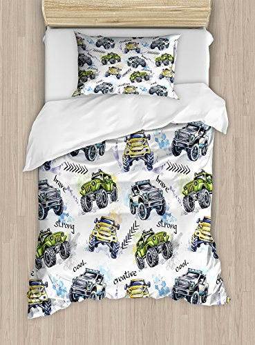 (Ambesonne Cars Duvet Cover Set, Hand Drawn Watercolored Monster Trucks Enormous Wheels Off Road Lifestyle, Decorative 2 Piece Bedding Set with 1 Pillow Sham, Twin Size, Blue Yellow)