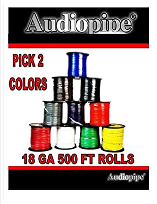 2 Rolls Audiopipe 500' Feet 18 Gauge AWG Primary Power Cable Remote Wire