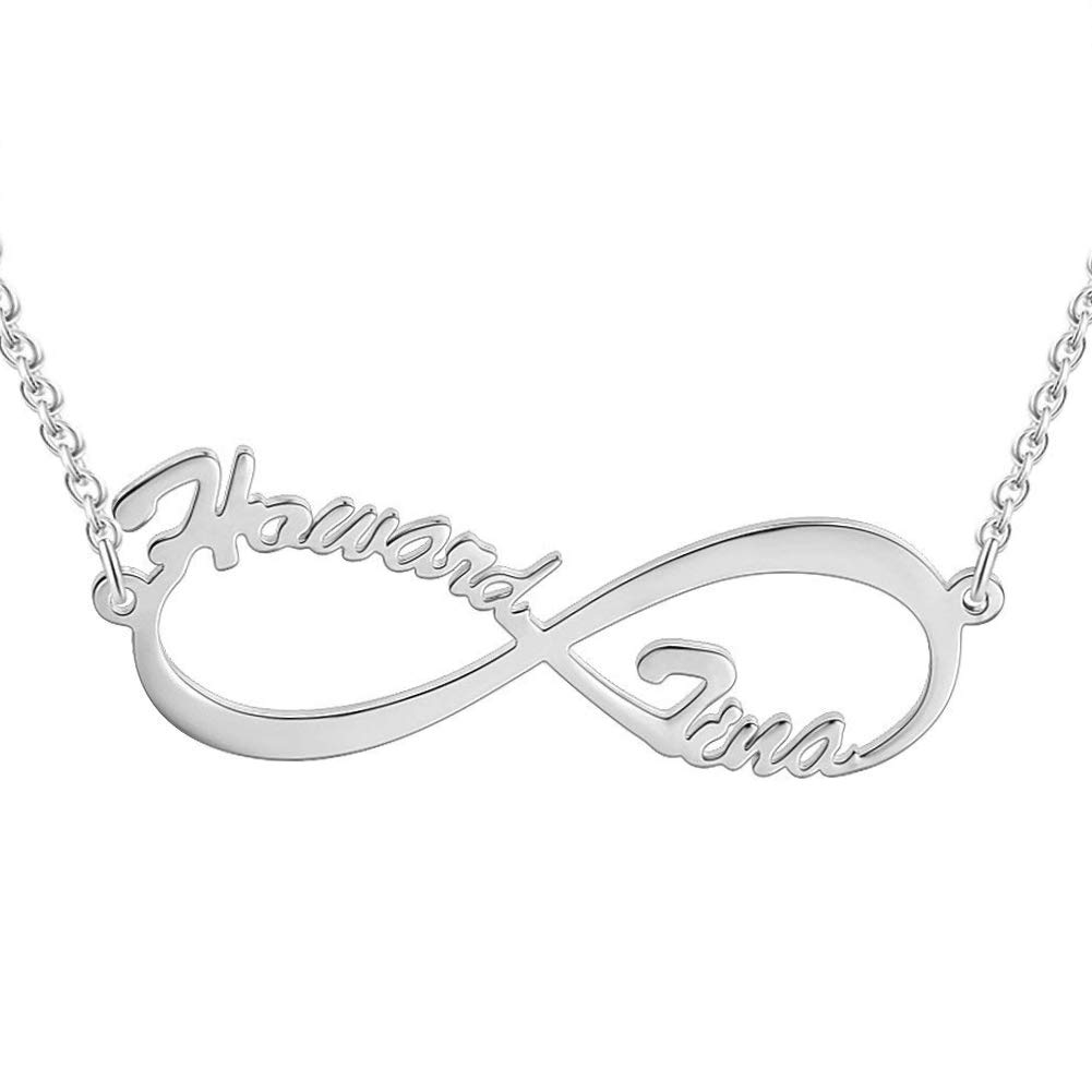 VERSUSWOLF Name Necklace Personalized Custom Name Plate 925 Sterling Silver Necklaces