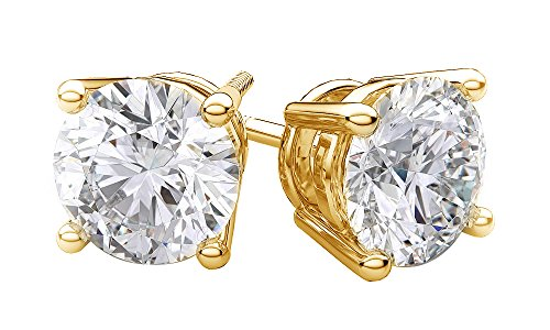 Round Brilliant Cut Natural Diamond Stud Earrings In 14K Solid Yellow Gold (.40 cttw) (Cut Yellow Round Diamond)