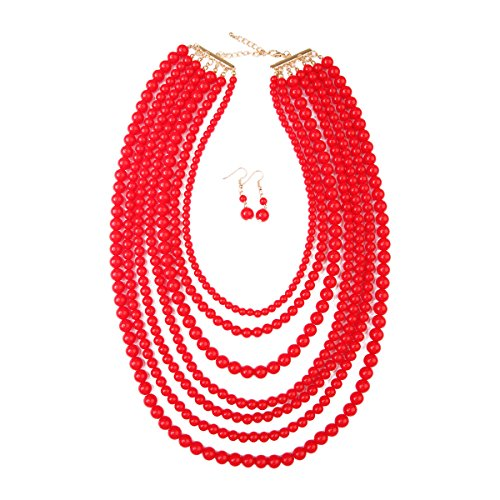 Wide Strand - MYS Collection Women's Popular Layered Bubble Statement Necklace Set - Colorful Bead Multi Strand Necklace (Red)