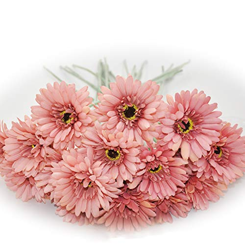 Centerpieces For Prom (cn-Knight Artificial Flower 12pcs 22'' Long Stem Silk Daisy Faux Mums Flower Chrysanth Gerbera for Wedding Bridal Bouquet Bridesmaid Home Decor Office Baby Shower Prom)